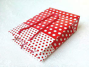 Obalový materiál - Shopping bag 17x11,5x5cm (white/red/dots) - 7360527_