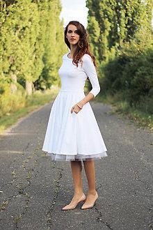 Šaty - Biele šaty s kruhovou sukňou - 7360205_