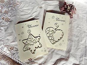 Papiernictvo - hviezda-vianočná pohľadnica z drôtu...shabby chic-vintage... - 7360159_