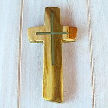 Dekorácie - Drevený krížik - svietiaci - 7360477_