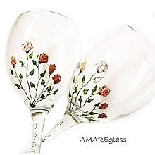 Nádoby - Svadobné maľované poháre - Ruže - 7361804_