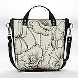 Punky 7 - štýlová čiernobiela kabelka na rameno s originálnym dizajnom a potlačou divých makov