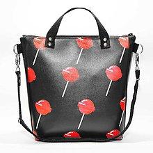 Kabelky - Punky 5 - čierna štýlová kabelka na rameno s originálnym dizajnom a hravou potlačou - 7358133_