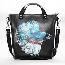 Kabelky - Punky 2 - čierna štýlová kabelka na rameno s originálnym dizajnom a potlačou ryby bojovnice - 7358245_