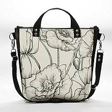 Kabelky - Punky 7 - štýlová čiernobiela kabelka na rameno s originálnym dizajnom a potlačou divých makov - 7358382_