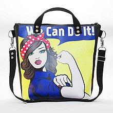 Kabelky - Punky 8 - štýlová kabelka na rameno s originálnym dizajnom a potlačou v štýle Pin Up - 7358495_