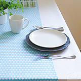 Úžitkový textil - bavlnený stredový obrus 150 x 40 cm, modré hviezdičky - 7361567_