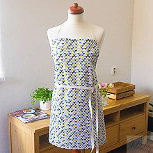 Iné oblečenie - univerzálna bavlnená zástera Lara, modré trojuholníky - 7359080_