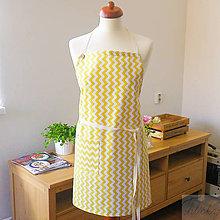 Iné oblečenie - univerzálna bavlnená zástera Lara, žltý cikcak - 7359203_