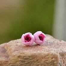 Náušnice - ružové mini napichovačky - chirurgická oceľ - 7356998_