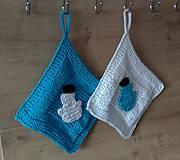 Úžitkový textil - zimné chňapky-snehuliačik - 7358723_