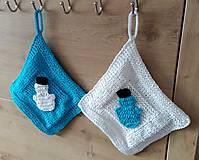 Úžitkový textil - zimné chňapky-snehuliačik - 7358725_