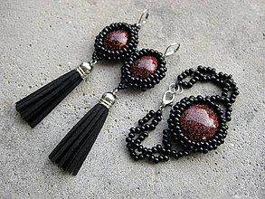 Sady šperkov - Čierno červené strapcové a náramok - sada č.588 - 7359514_