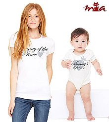 Tričká - mama a princ (srdiečková súprava) = dámske tričko + detské body - 7357230_