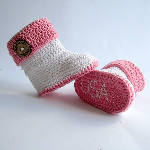 Topánočky - Háčkované čižmičky s menom dieťatka - dievčenské - 7361189_