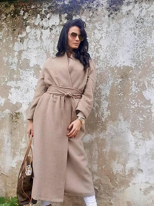 Kabáty - Maxi kabát béžový - 7357314_