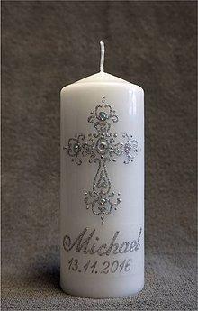 Svietidlá a sviečky - krstová sviečka s krížikom - strieborná - 7365808_