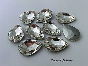 Galantéria - Ozdobné kamienky našívacie sklenené 10x14 mm - Crystal - 7362213_