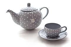 Nádoby - Šedý čajník s bodkami - 7364892_