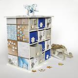 Dekorácie - Adventný kalendár modrý - 7364343_