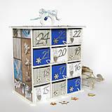 Dekorácie - Adventný kalendár modrý - 7364344_