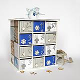 Dekorácie - Adventný kalendár modrý - 7364345_