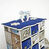 Dekorácie - Adventný kalendár modrý - 7364346_