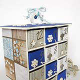 Dekorácie - Adventný kalendár modrý - 7364348_