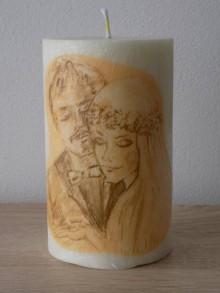 Darčeky pre svadobčanov - Sviečka zo 100% palmového vosku - Svadobná Mladomanželom - MAXI veľká - 7363015_
