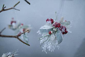 """Dekorácie - Vianočná guľa """"zasnežené imelo"""" - 7362405_"""