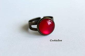 Náušnice - Glamour Red (Prsteň 12mm) - 7365718_