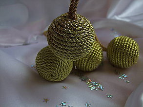 Dekorácie - Točené vianočné gule - zlaté - 7364379_
