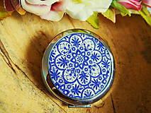 Zrkadielka - Zrkadielko kabelkové s modro-bielym motívom - 7362414_