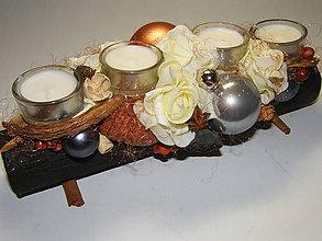 Dekorácie - Adventný svietnik_Šedo-medené Vianoce s vanilkou .... - 7371326_