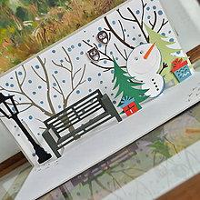 Papiernictvo - Popup vianočná pohľadnica, snehuliak v parku - 7369117_