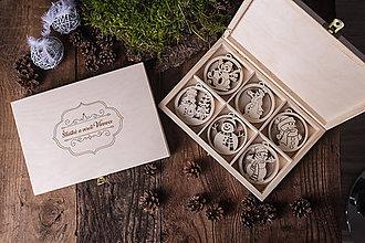 Dekorácie - Vianočné ozdoby z dreva - KOLEKCIA SNEHULIAK - 7370856_