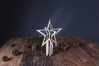 Dekorácie - Vianočná špička na stromček z dreva - 7371193_