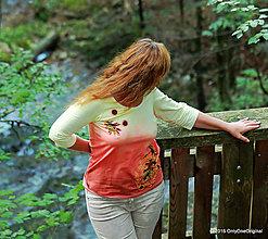 Tričká - Dámske tričko batikované a maľované NOVEMBER - 7369709_