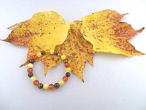 Náramky - tigrie oko karneol kalcit náramok - jesenný - 7369392_