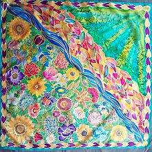 Šatky - Keď sa láska zelená-hodvábna maľovaná šatka - 7370055_
