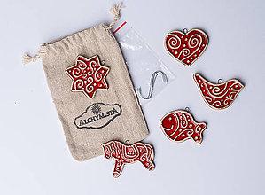 Drobnosti - Voňavé vianočné keramické ozdôbky červené - 7368645_