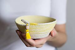 Dekorácie - Zľava 50%: Žltá lanová miska •• - 7371980_