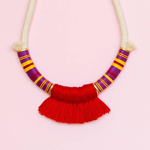 Náhrdelníky - Strapcový, farebný náhrdelník RALL •• - 7369859_