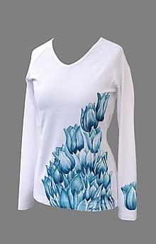 Tričká - Tričko - Modrosivé tulipány - 7374586_