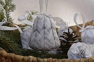 Dekorácie - Set zvončekov šedo-bielych - 7375537_
