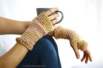 Rukavice - Pletené vlnené merino rukavice - 7372880_
