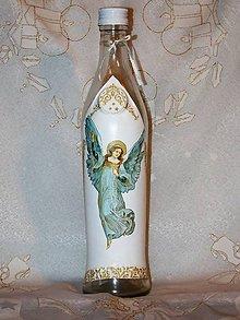 Nádoby - Vianočná fľaša Anjel pokoja - 7377235_