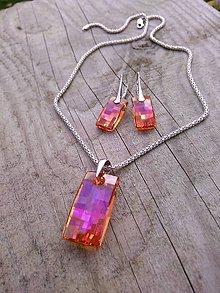 Sady šperkov - Swarovski sada-oranžovo-ružová - 7377552_