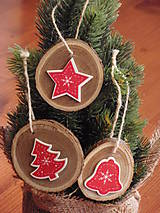 Dekorácie - Vianočné ozdoby na stromček - sada 3 kusov - 7372146_
