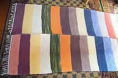 Úžitkový textil - Tkané koberce, súprava so širokými farebnými pásmi - 7374624_